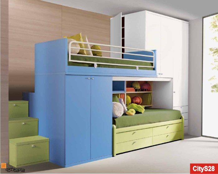 Il letto a soppalco Line è disponibile in diverse tipologie ...
