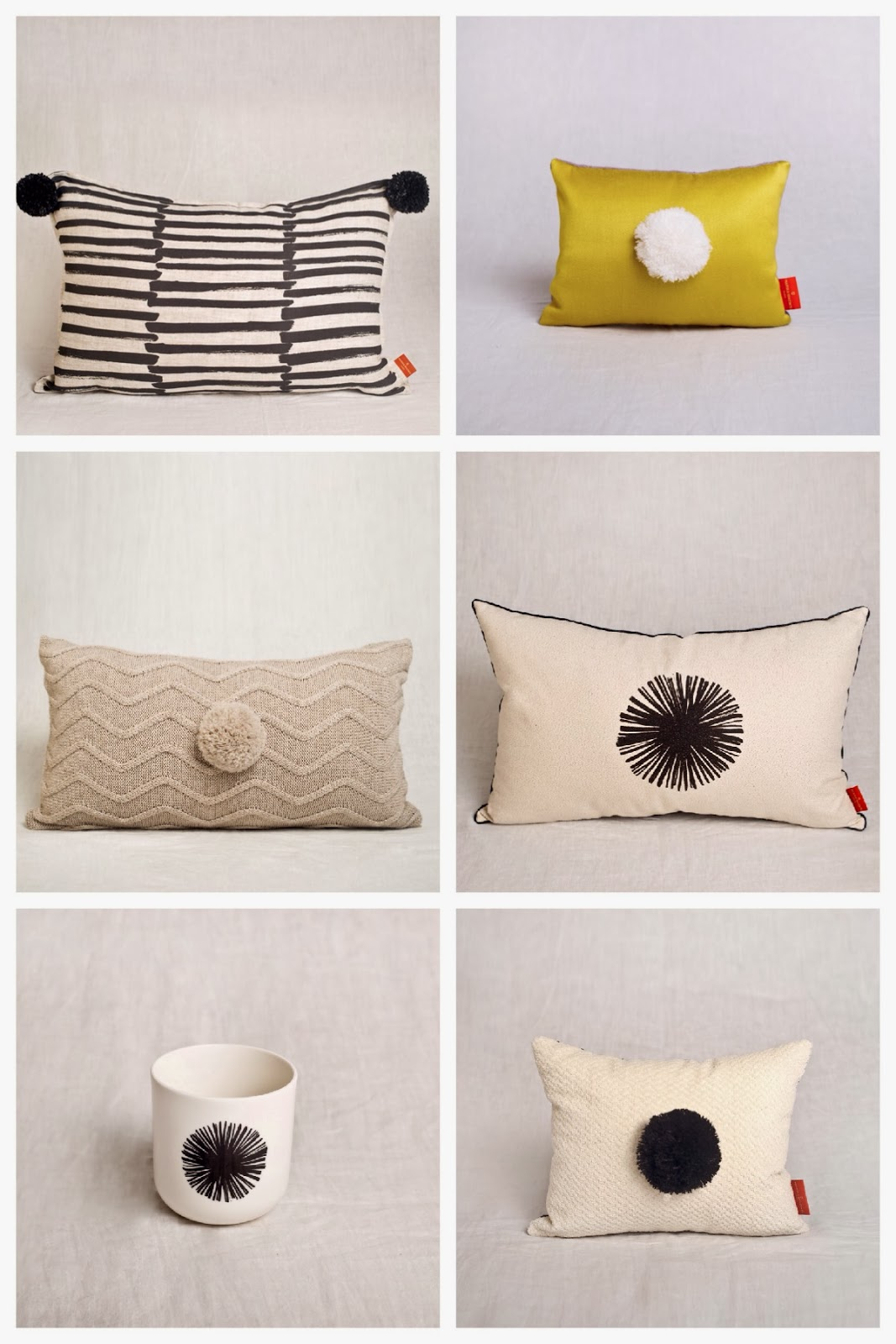pom pom cushions at Marika Giacinti