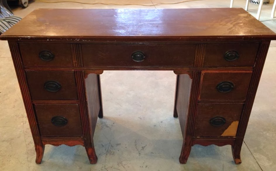 See that spot? Not good. In my defense, it was extremely thin, but I should  have thought of that before I took my orbital to it. - Createinspire}: Another Antique Black Desk