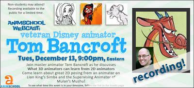 AnimScool Webinar: Tom Bancroft