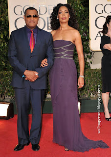 Laurence Fishburne and wife Gina Torres arrive at the 66th Annual Golden Globe Awards on January