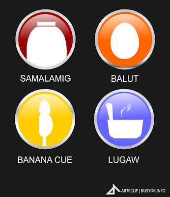 street foods sign icons, lugar, bananacue, samalamig, pinoy foods, food business