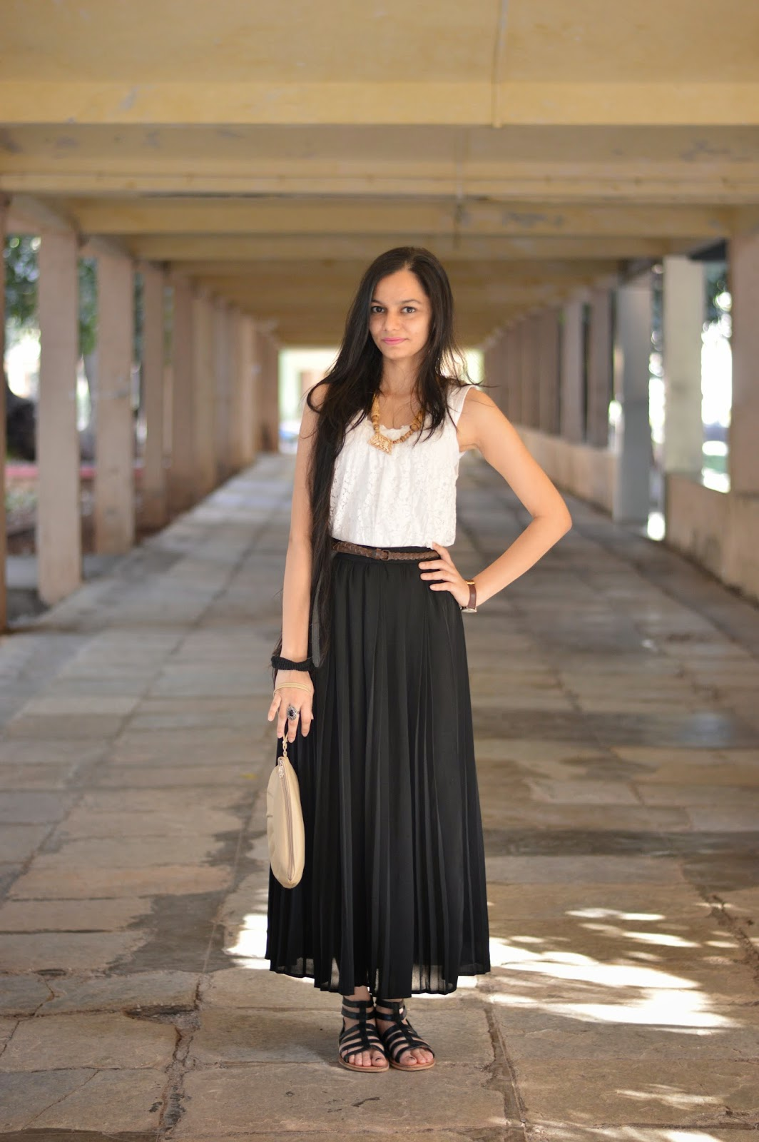 pleated maxi skirt, lace vest, gladiator heels, what to buy in bandra, mumbai streetshopping, mumbai streetstyle, indian fashion blogger, mumbai fashion blog, looks for less, what to buy in colaba causeway, how to wear gladiator heels