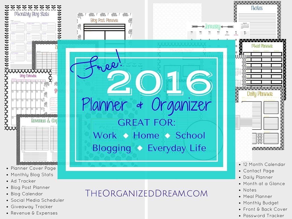 Organized Calendar Planner : Free calendar planner organizer pages the