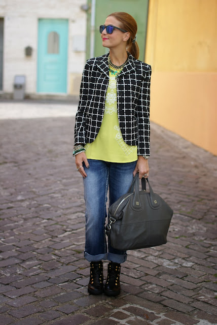 Asos Check blazer, Bruno Bordese shoes, Givenchy Nightingale, Romwe yellow blouse, Fashion and Cookies, fashion blogger