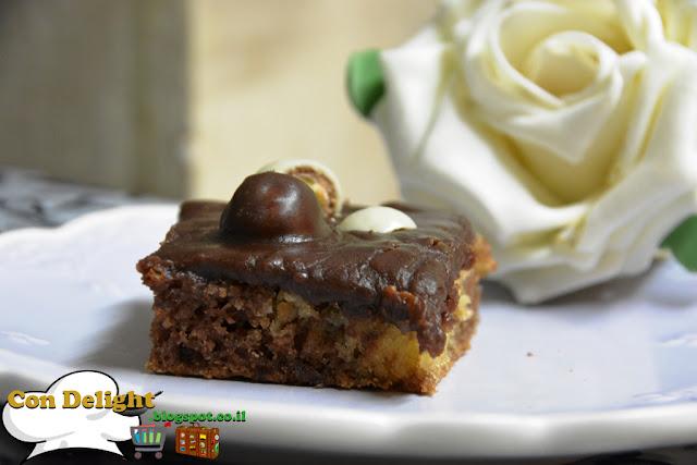 עוגת שיש וקרם שוקולד Marble cake and chocolate cream