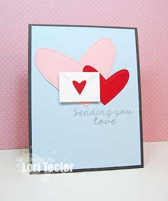 Sending You Love card-designed by Lori Tecler/Inking Aloud-stamps and dies from Lil' Inker Designs