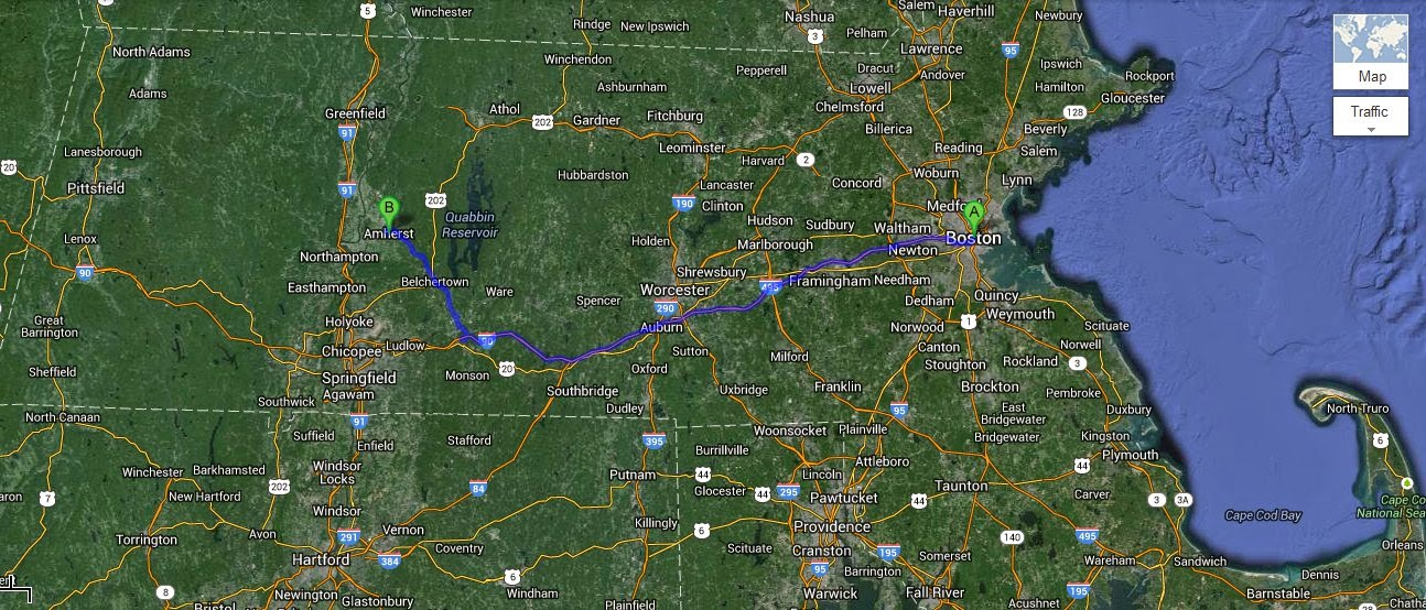Drive from Boston to Amherst