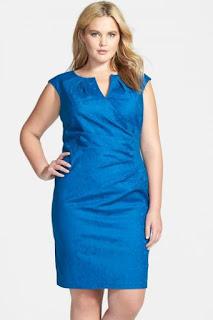 Adrianna Papell Side Pleat Surplice Jacquard Sheath Dress (Plus Size)