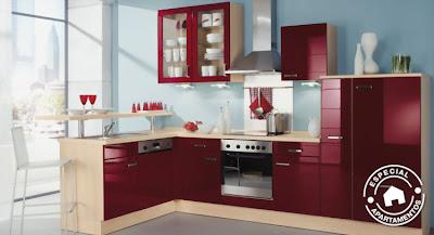 El color burdeos en la decoraci n cocinas modernass - Cocinas color burdeos ...