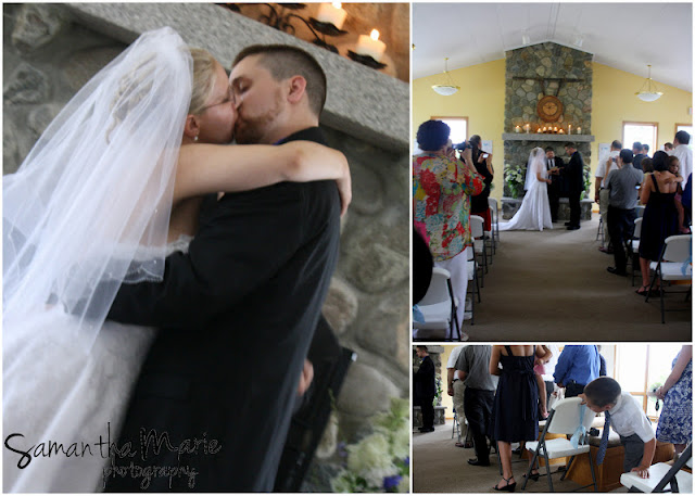 wedding ceremony and first kiss