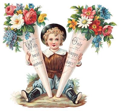 Открытки дети и цветы и мамы