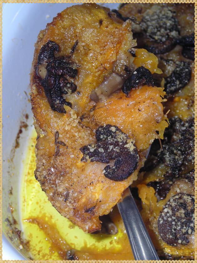 Zucca al forno con funghi e timo