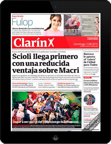 Diario Clarín Argentina (02 Agosto 2015) ESPAÑOL - Scioli llega primero con una reducida ventaja sobre Macri