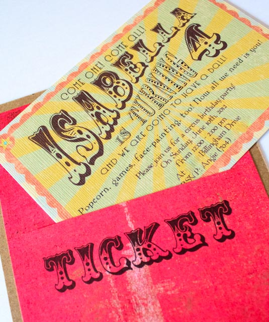 Angenuity Vintage Circus Birthday Party Invitation