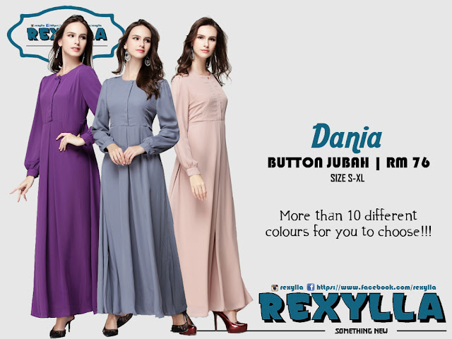 rexylla, hidden button, button jubah, dania collection