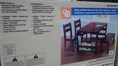 Cafekid Rack and Stack Table comes with 2 chairs and a bench