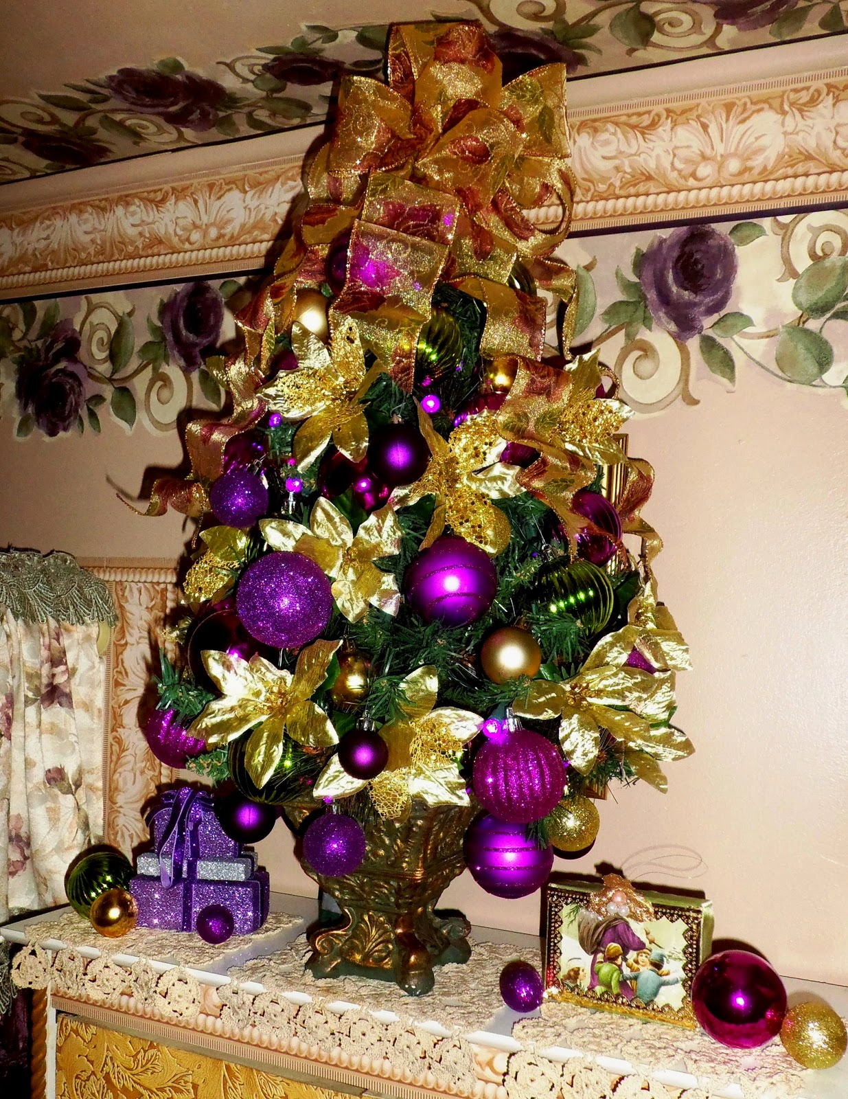 Purple and gold christmas tree decorations - Gold Poinsettias From Dollar Tree Are Added To The Tree For More Volume