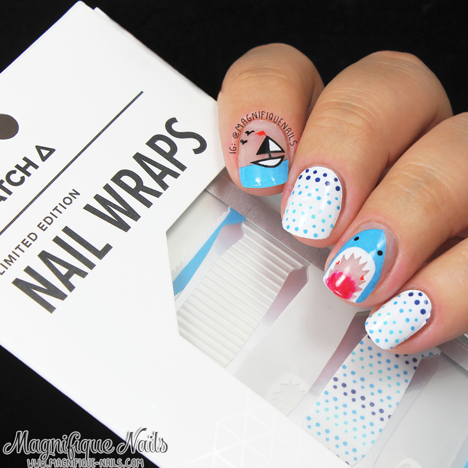Magically Polished Nail Art Blog Shark Week Scratch Nail Wraps