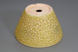 黄釉丸盆栽鉢(Yellow glaze bonsai pot)h1819