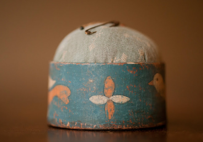"BLUE ROUND BOX PINCUSHION, 2 3/4""Diameter, approximately 2 1/2""H"