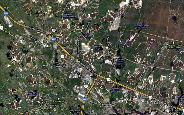 Google Maps Satellite view of Wareham, Massachusetts to see cranberry bogs