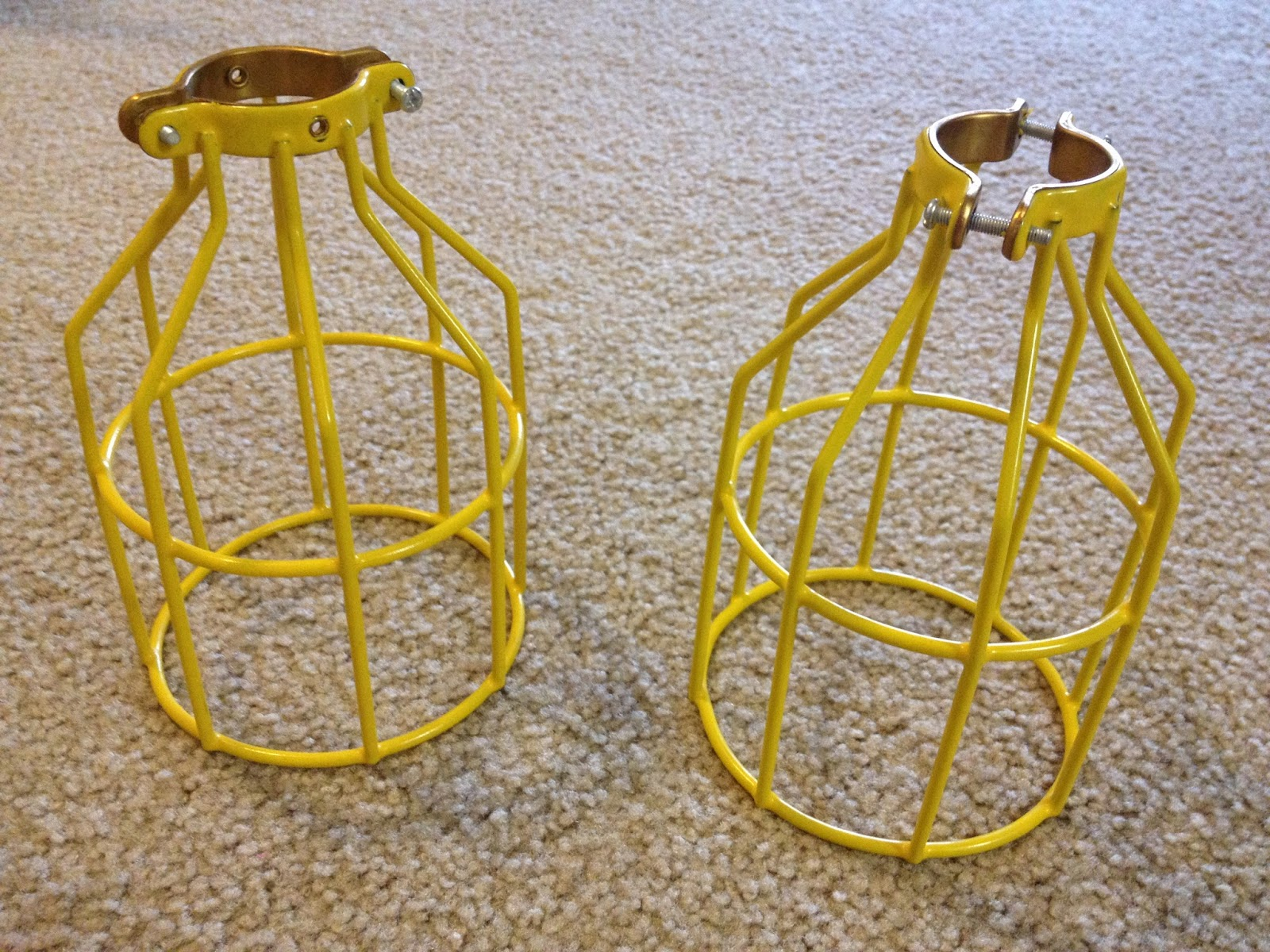 Inspired whims light cage industrial pendant lights believe it or not the lamp guards came in this amazing yellow thats right i didnt have to lift a finger to the spray paint aloadofball Choice Image