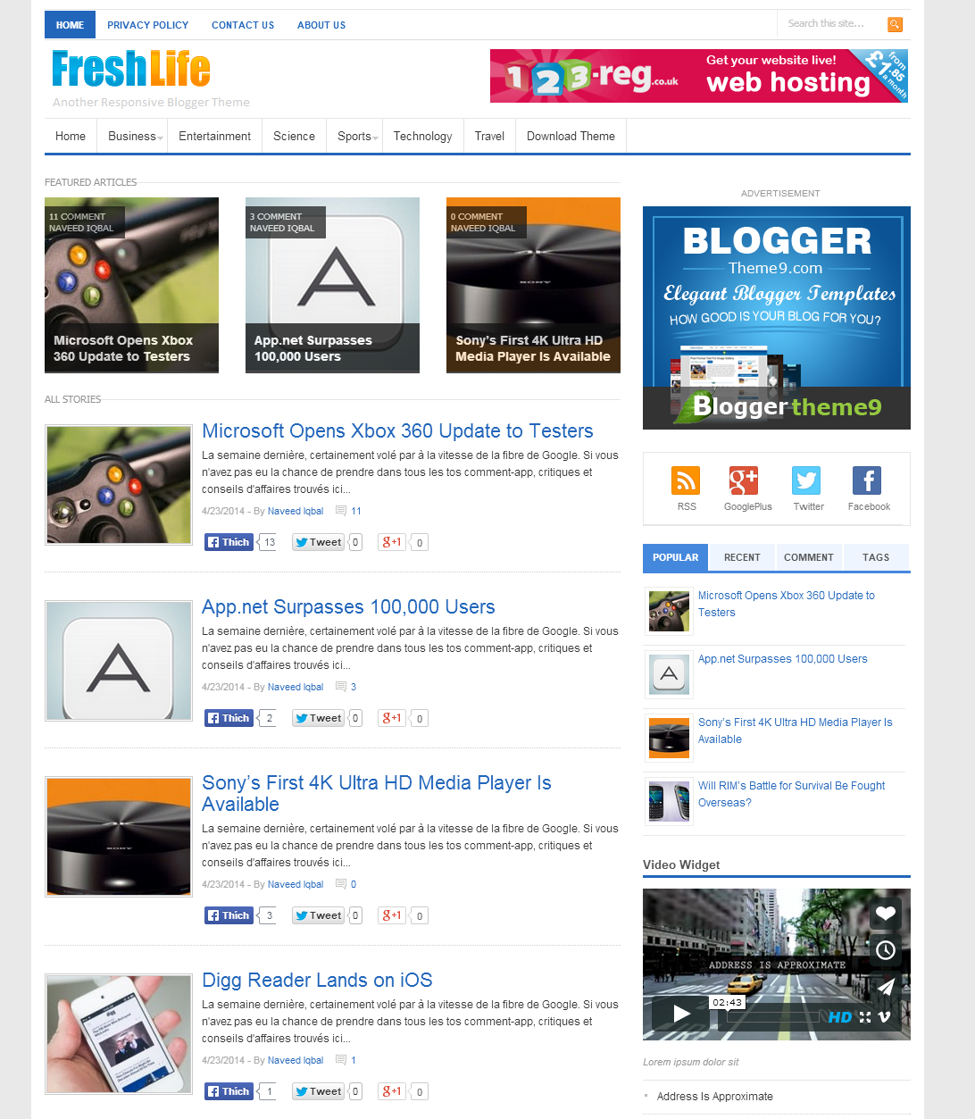 Share FreshLife Responsive Blogger Theme
