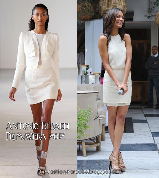 Zoe Saldaña llevó un vestido blanco de Antonio Berardi Primavera 2012, ...