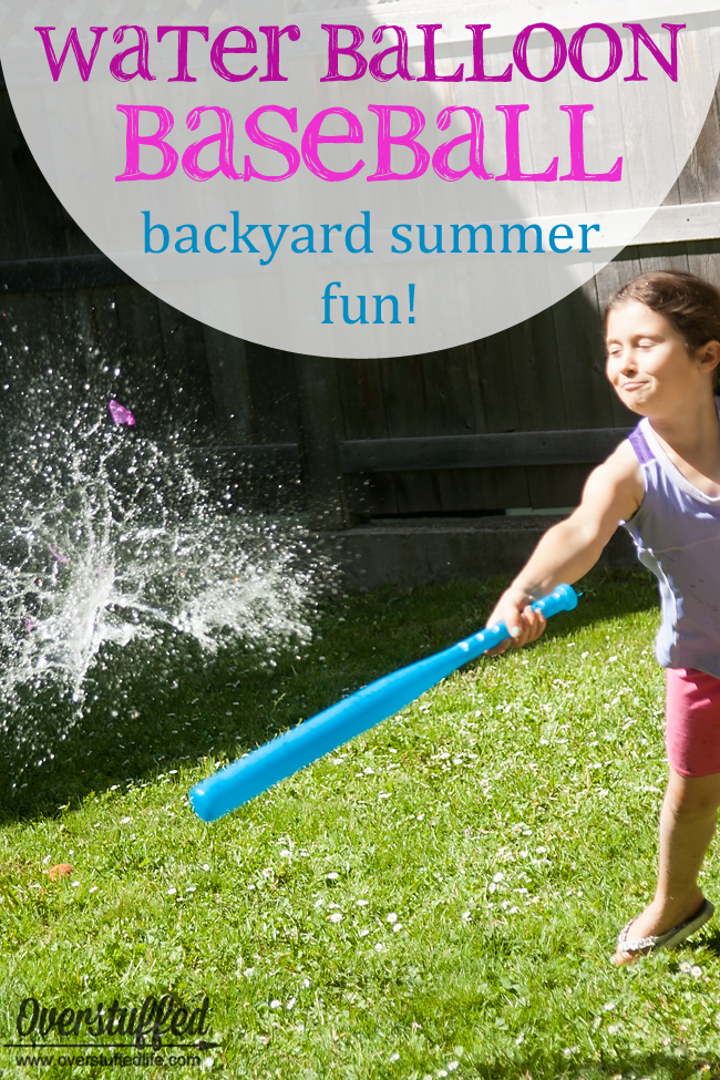 Get your kids outside having a great time without spending much money! Try water balloon baseball--the kids will love it!