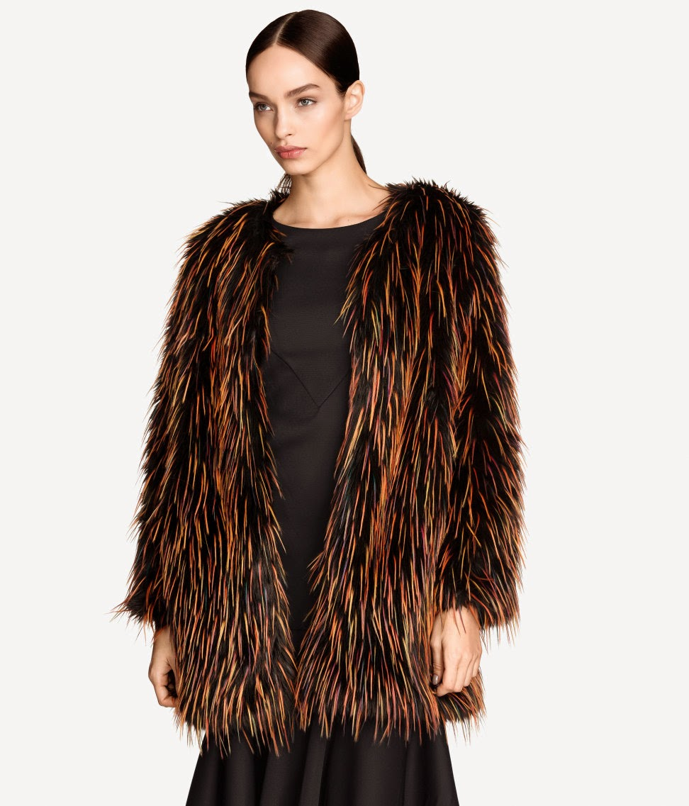 black orange fur coat
