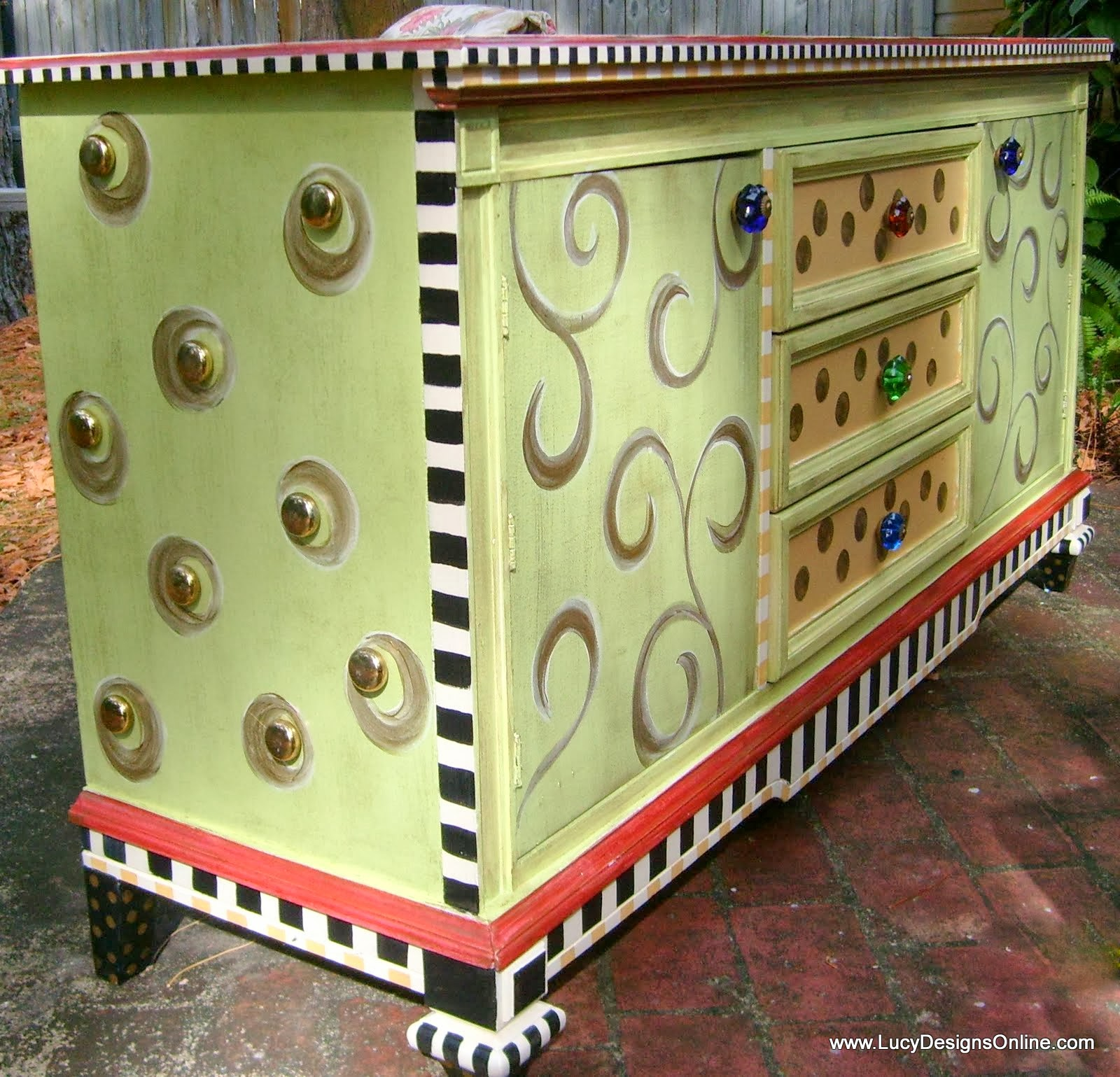 Hand Painted Funky Whimsical Dresser With Large Studded Sides And Stripes D