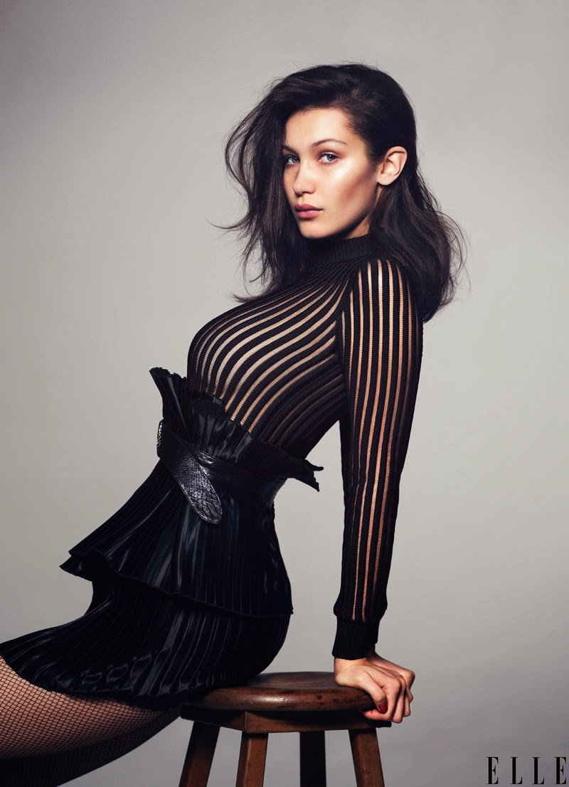 Bella Hadid wears sexy black designs for an Elle US May 2015 editorial