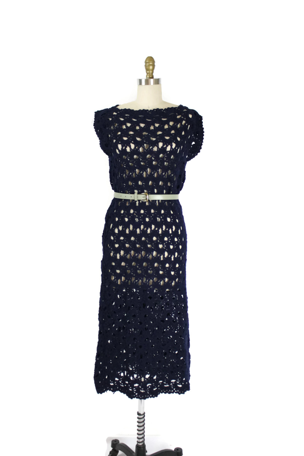 1970s arts and crafts movement hand crocheted dress