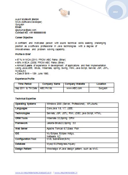 bca sample resume download