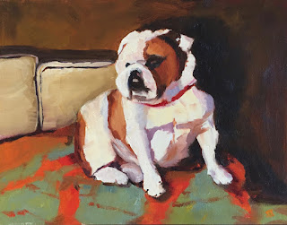 Bull Dog Painting by Jill Treadwell Svendsen