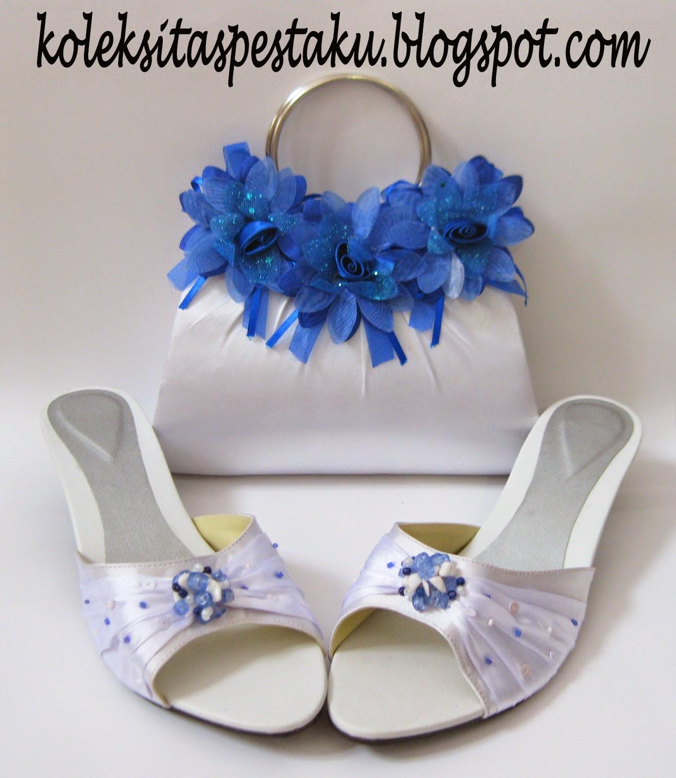 Sepaket tas pesta dan sepatu putih dengan modifikasi biru