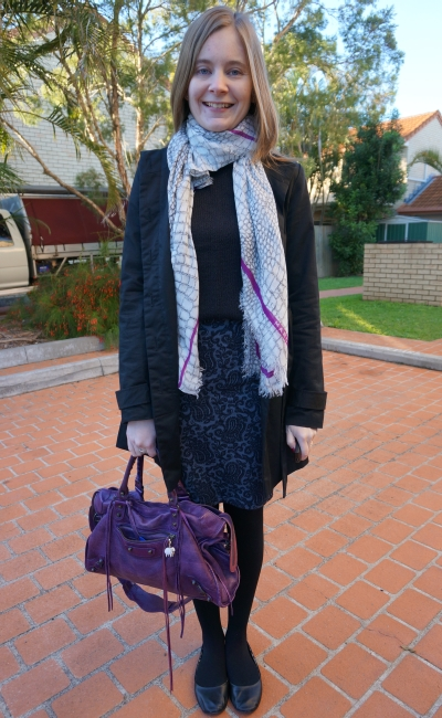 Away From Blue OOTD MbMJ printed scarf jacquard pencil skirt black knit