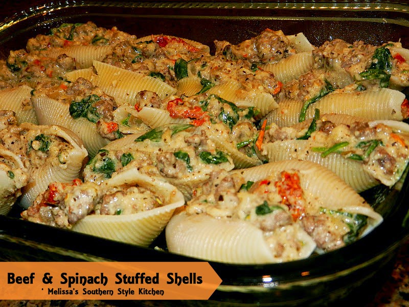 Baked Shells With Beef, Sundried Tomatoes & Spinach Recipes ...