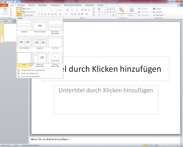 PowerPoint 2010 - Einfügen Leere Folie