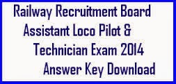RRB ALP Answer Key Paper 2014