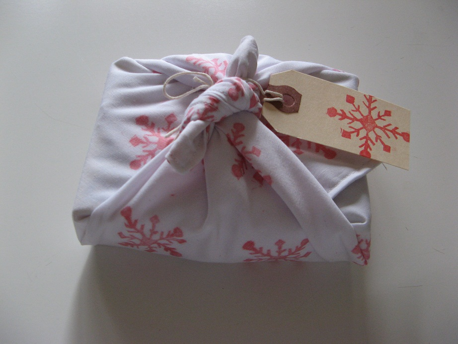 Gingham cherry furoshiki wrapping cloth for Japanese wrapping