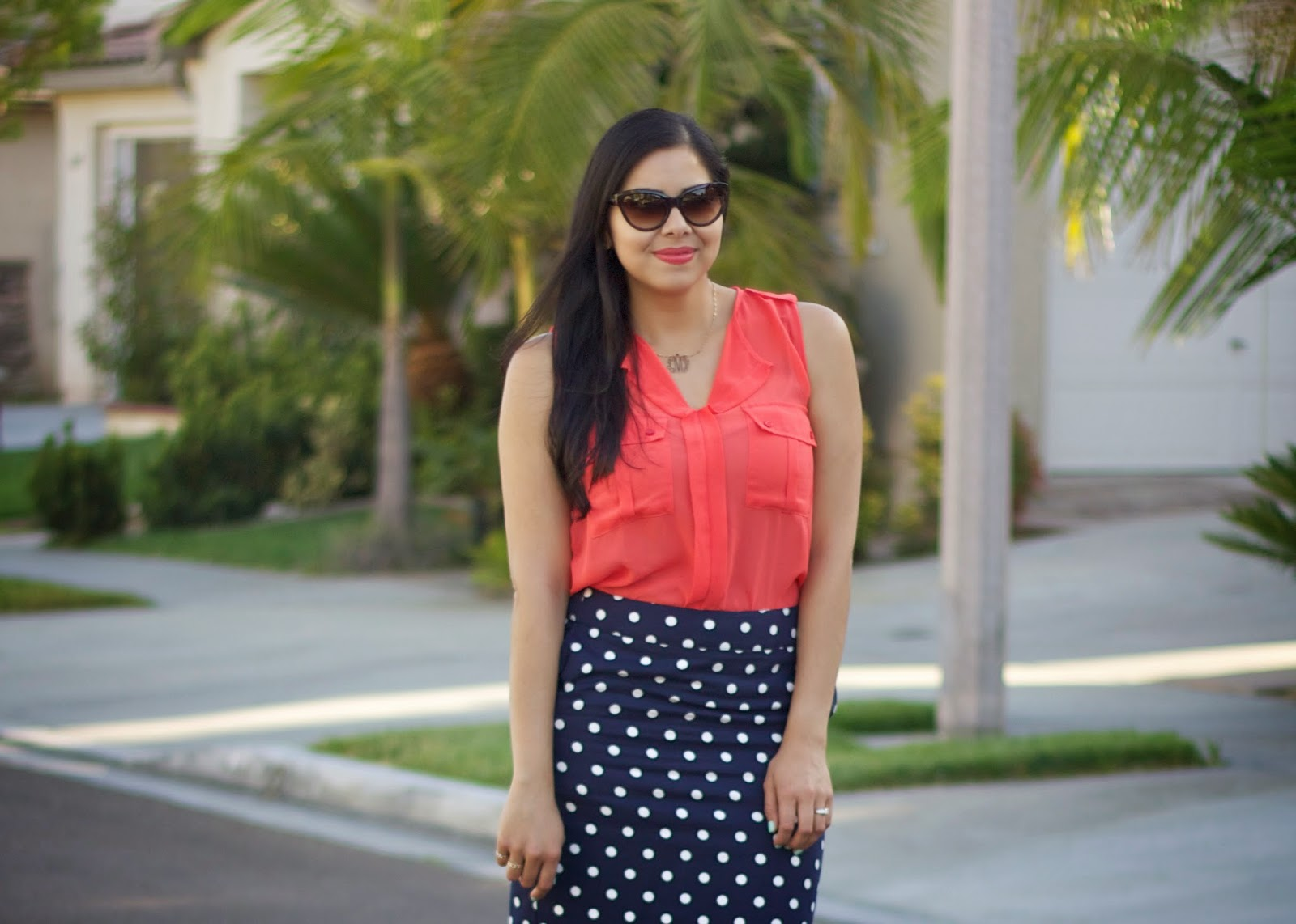 How to wear a coral top, sheer coral top, orange sheer top, orange sheer shirt, orange shirt and lipstick