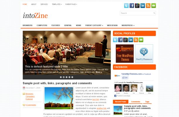 Free Orange News Blog Magazine Wordpress Jquery Theme