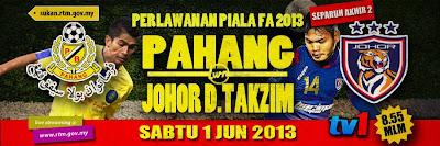 Keputusan Pahang vs Johor Darul Takzim 1 Jun 2013 - Separuh Akhir 2 Piala FA