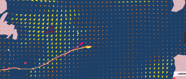 graphic - Volvo Ocean Race, Leg 7 - Newport to Lisbon -positions at: 23 May 18:43 UTC