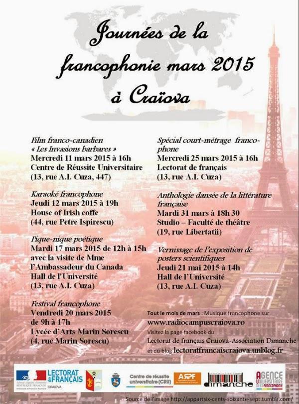 programul Zilelor Francofoniei la Craiova