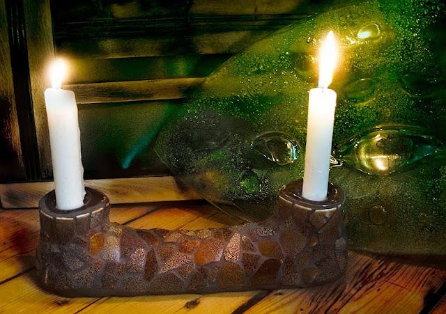 mozaika ceramiczna - świecznik