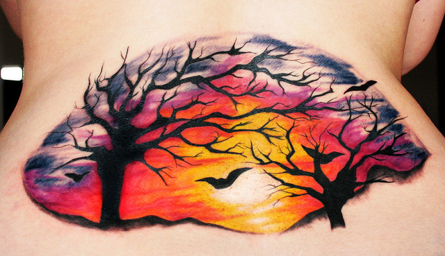the gallery for watercolor sunset tattoo. Black Bedroom Furniture Sets. Home Design Ideas