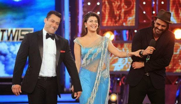 jacqueline fernandez transparent saree in bigg boss 8